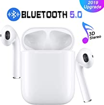 Bluetooth 5.0 Earbuds Wireless Headphones Hi-Fi Sound Bluetooth Headset with Mini Charging Case 24Hrs Extended Playtime Pop-Up Pairing for iPhone/Samsung/Apple/Airpods Sports Earphone