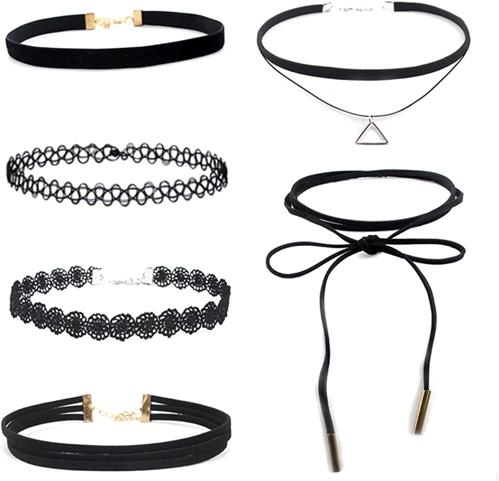 SANWOOD 6 Pcs Womens Fashion Jewelry Floral Choker Collar Necklaces Party Club Jewelry Gift for Women Unique Gifts, Necklaces for Women