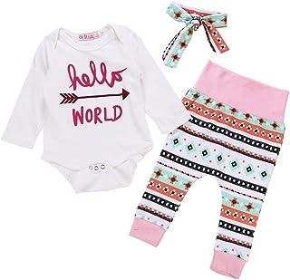 Hirolan Neugeborenes Baby Schlafanzug Bodys & Einteiler Baby Strampler Brief Pfeil Drucken Overall Spielanzug  Hosen  Stirnband Kleider Babywäsche Jogginganzug