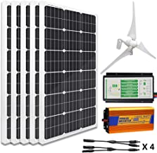 ECO-WORTHY 12V to 110V 900W Wind Solar Power: 5pcs 100W Mono Solar Panels + 1pc 12V/24V 400W Wind Turbine + 1KW 12V-110V Off Grid Inverter + Cable Connector for Home Use