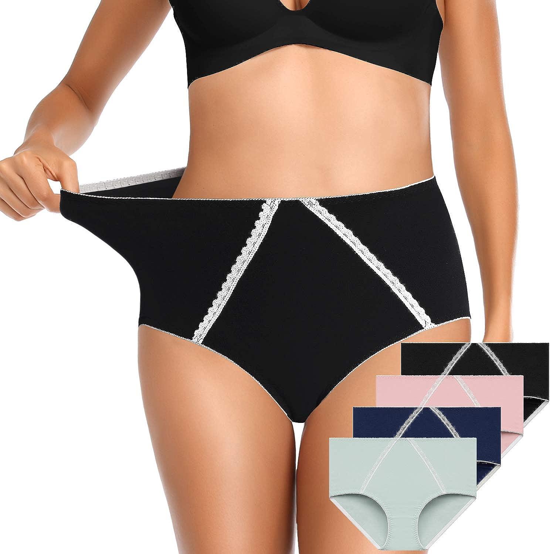 OUENZ Women's Cotton Underwear,Breathable Solid Comfortable High Waist Soft Briefs Panties for Women