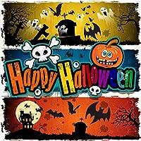 Qinunipoto 背景布 ハロウィン happy halloween 撮影用 写真撮影用 コウモリ 墓地 丸い月 枯れ木 城 かぼちゃ 骷髅 写真の背景 背景幕 子供用 新生幼児用 デジタル背景布 撮影布 ビニール 1.5x1.5m