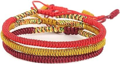 Rimobul Handmade Tibetan Buddhist Lucky Rope Bracelet - 3 Pack (Worship)