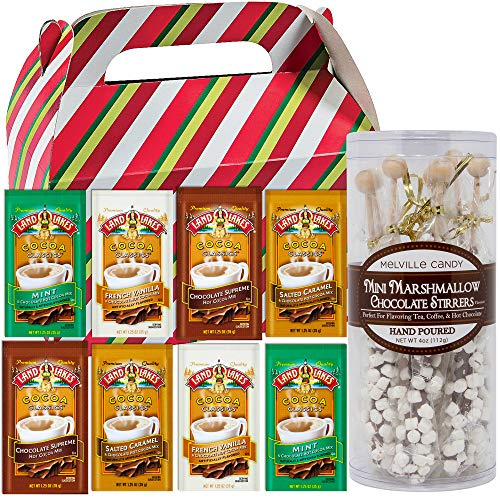 Set of 8 Gourmet Mini Marshmallow Chocolate Stirrers Hand Poured for Hot Chocolate | 8 Land O Lakes Cocoa Classics Hot Cocoa Variety Mix Packets (1.25 oz) | Packed in a Holiday Themed Gift Box.