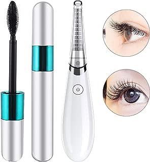 Electric heated eyelash curler, USB quick charging mini easy to carry eyelash curler, Eyelash curler tool to enhance the pen, mascara set combination (white)