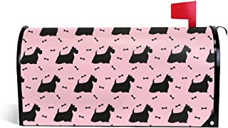 PBZNAN Scottish Terrier Dog Cute Pink Mailbox Covers Magnetic Mail Post Cover Mailbox Wraps 25.5x21 in