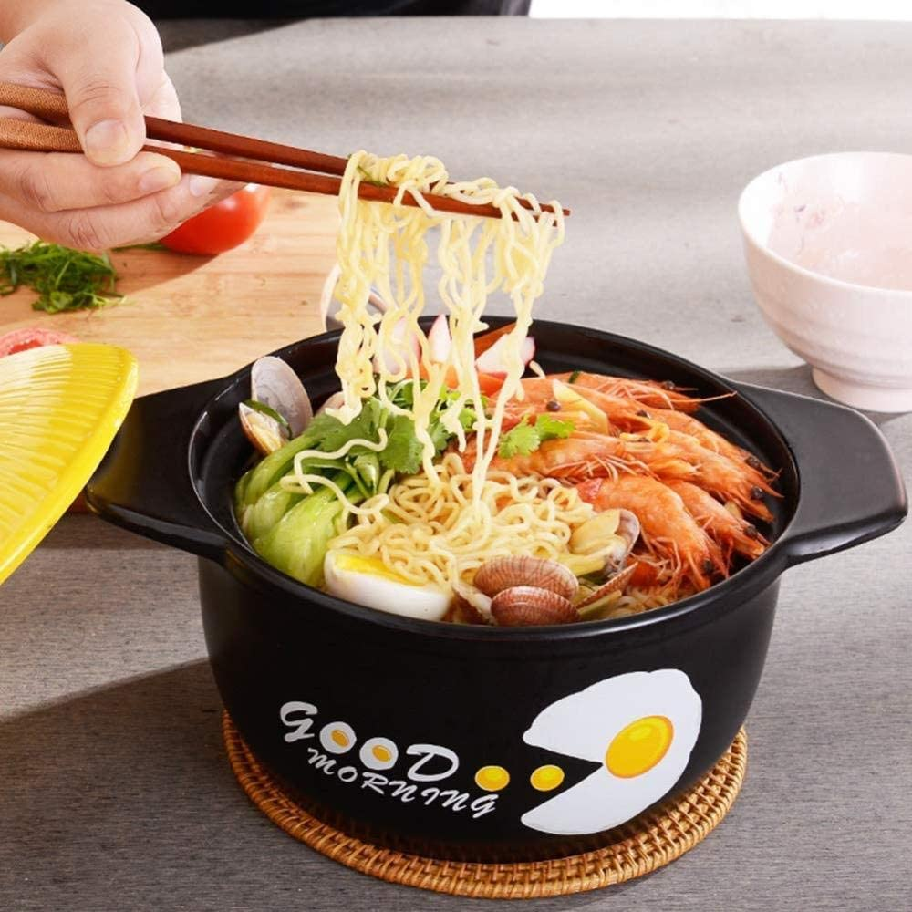 YUHT Clay Casserole Terracotta Stew Pot Ceramic Casserole - Good Heat Insulation, Dual Power, Healthy and Delicious, Capacity 2.5L-Capacity2.5L_Yellow Soup Pot Yellow