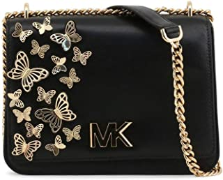 Michael Kors 30S9GOXL7O-001 Mott Large Butterfly Embellished Leather Crossbody, Black