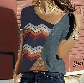Tinyshine Women Casual Striped Short Sleeve Color Block V-neck Plus Size T-shirts