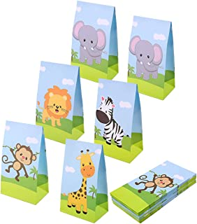 Aresmer Jungle Animal Party Bags Party Favor Bags for Kids Zoo Animal Theme Party, Set of 25