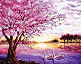DIY Paint by Numbers, Canvas Oil Painting Kit for Adults Kids Arts Craft for Home Wall Décor, 16' W x20' L Drawing Paintwork with Paintbrushes, Acrylic Pigment-Romantic Cherry Blossoms