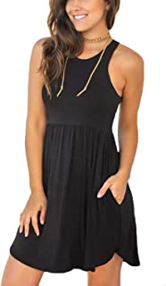 Unbranded Women's Sleeveless Loose Plain Dresses Casual...