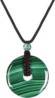 GENASTO جولة الملكيت كريستال قلادة حقيقية شفاء حجر مجوهرات للرجال النساء