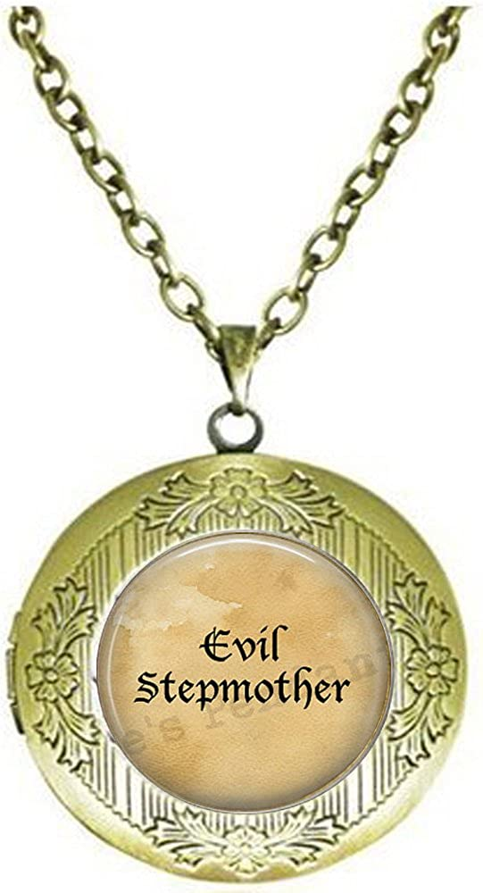 Evil safety Stepmother Fees free locket Necklace - Mother Gift Funny Stepm Step