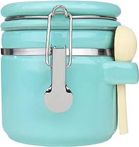 Blue Donuts 25 Oz Ceramic Airtight Jar,Ceramic Airtight Food Storage Containers,Ceramic Kitchen Canisters, 739 ML Airtight Jar, Flour Jar with Lid,Airtight Food Storage Containers for Pantry,Turquoise