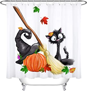 LB Halloween Shower Curtain Set Witch Hat Broom Pumpkin Cat Leaves Bathroom Curtain Party Decor,Bath Curtain Hooks Include,72x72 inch Waterproof Polyester Fabric