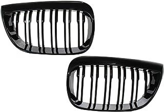 MERIGLARE Grade de rim do radiador frontal de ripa dupla de 1 par, grade de malha de corrida, apto para BMW E81 E87 E88 20...