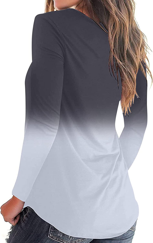 TARIENDY Women V Neck Sweatshirt Trendy Long Sleeve Tops Color Gradient Tshirt Ladies Loose Oversized Tee Shirt