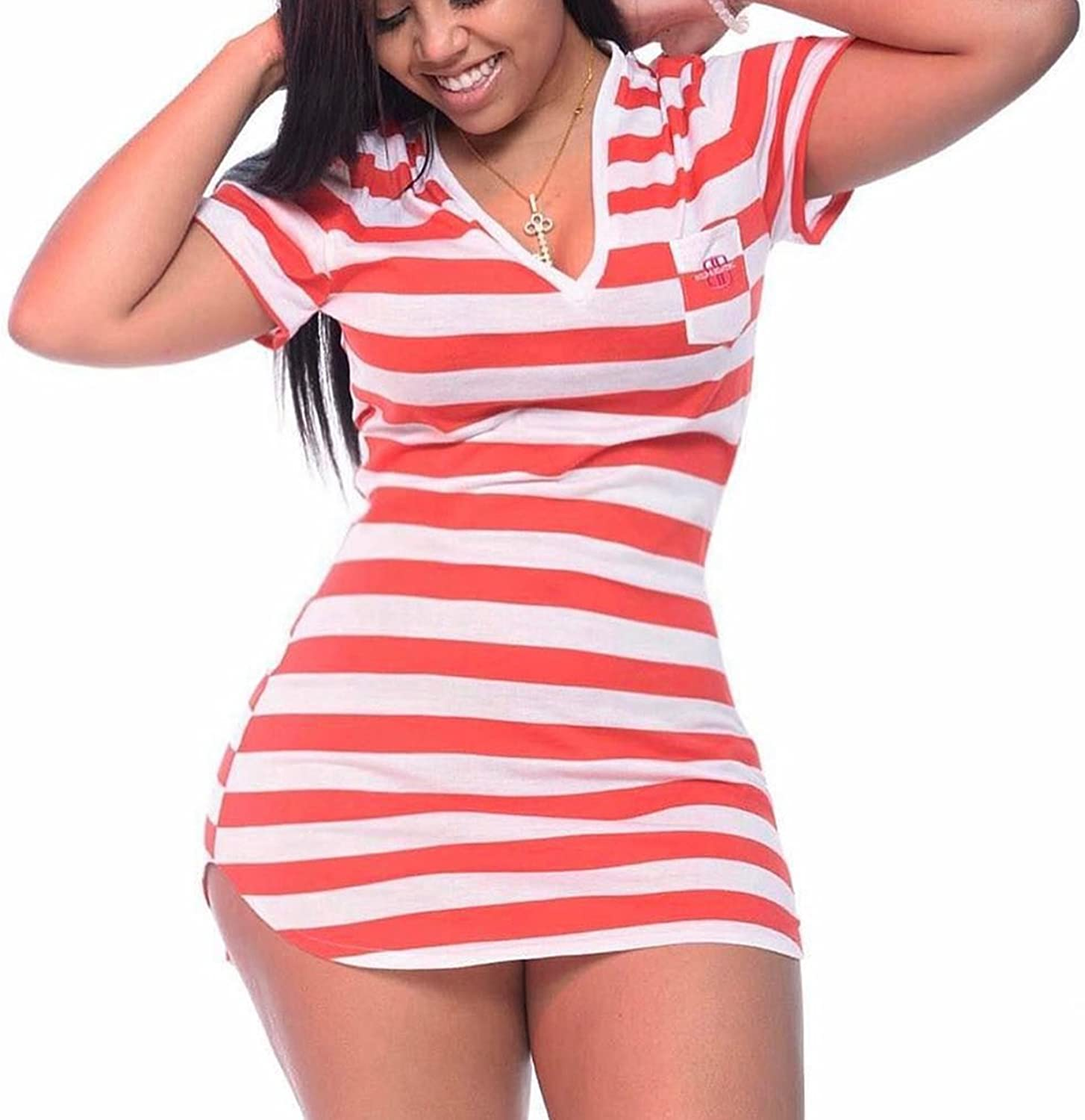 Lady's Dress Lady's Dress Stripes Short Sleeve V Neck Casual Short Dress 2018 New Spring And Women's Autumn Daily Wearing Temperament ( Size   S )