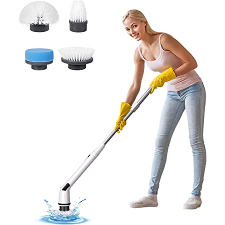 amzdeal Spin Scrubber - Floor Tile Scrubbing Brush, Electric Cordless Scrubber Machine, Hurricane Power Cleaning Tool, Rechargeable and Durable, 4 Replaceable Heads and 1 Extension Arm, New Version