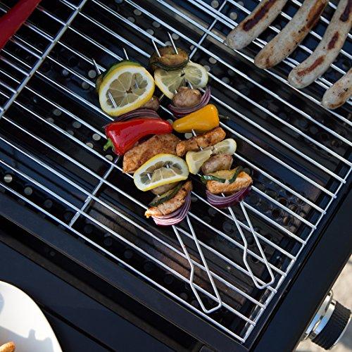 61vQaMJF24L - Bruzzzler Doppelspieße, Doppelgrillspieße, verwendbar als Schaschlikspieße, Garnelenspieße, Geflügelspieße und Grillspieße, Barbecue Doppelspieße, 8er Set Spieße, 39,5 x 9,5 x 4,5 cm