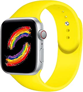 BOTOMALL Compatible With Iwatch Band 38mm 40mm 42mm 44mm Classic Silicone Sport Replacement Strap Bracelet for Iwatch all Models Series 4 Series 3 Series 2 Series 1 (pollen yellow,38/40mm S/M)