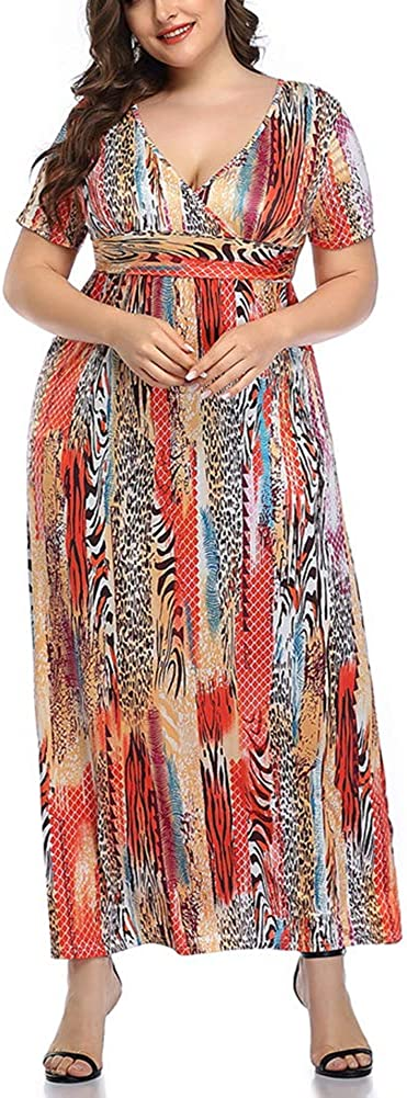 Women's Short Sleeve Sexy Wrap V Neck Maxi Long Dress Floral Pattern Casual Maternity Dress with Pockets