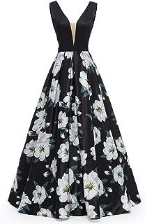 Dydsz Women's Long Evening Prom Dress for Formal Gown W/ Pocketsrint Floral