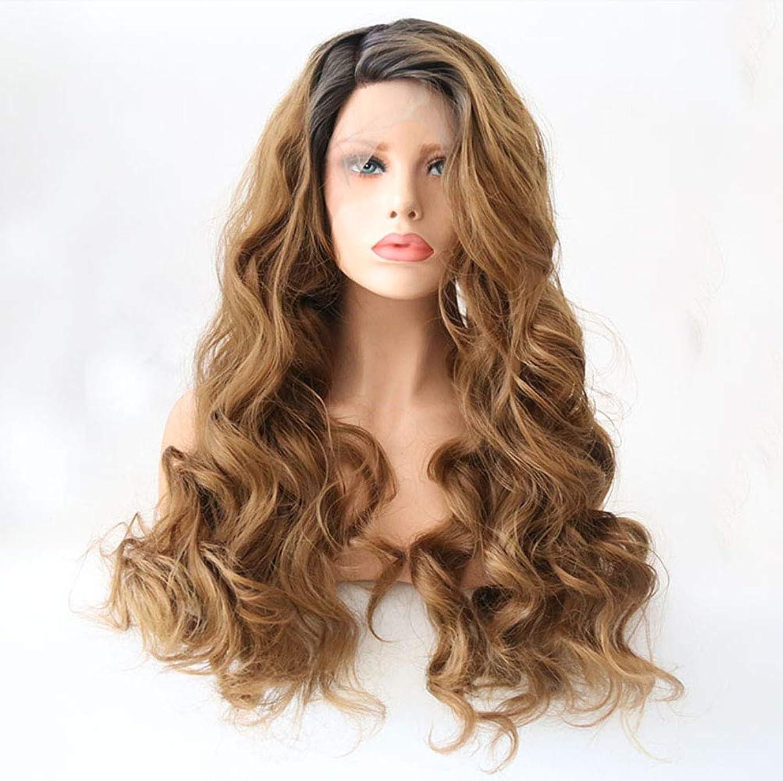 オーバーラン素晴らしき通知する女性かつらレースフロント合成長天然波状巻き毛のかつらファッション耐熱24インチ