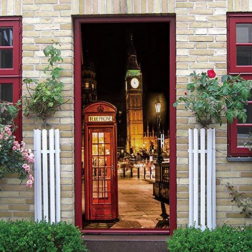 Murales Para Puertas Cabina Telefónica Autoadhesiva Big Ben Vista Nocturna Impermeable Papel Pintado Puerta Mural Pegatinas 86 X 200 cm