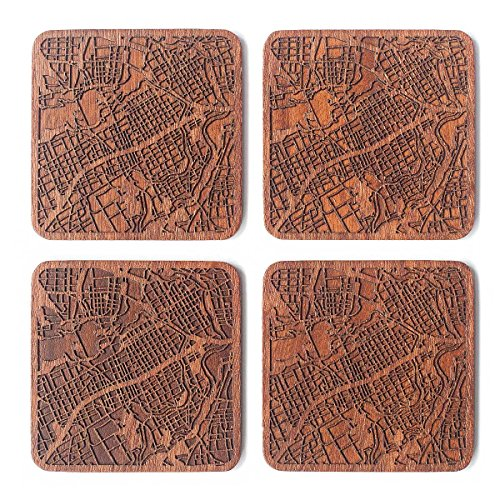 Ottawa Mappa della città Sottobicchiere, set di 4 sottobicchieri in legno Sapele con mappa della città, fatto a mano
