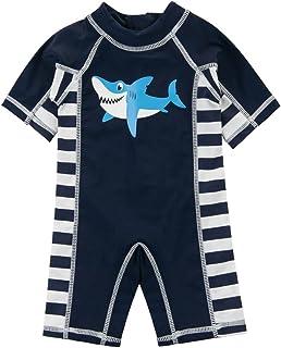 FEESHOW Kids Boys Shark Printed Rash Guard Swimsuit Bathing Suit Long Sleeve Top Shirt with Trunks Swimwear Swimming Cap Set