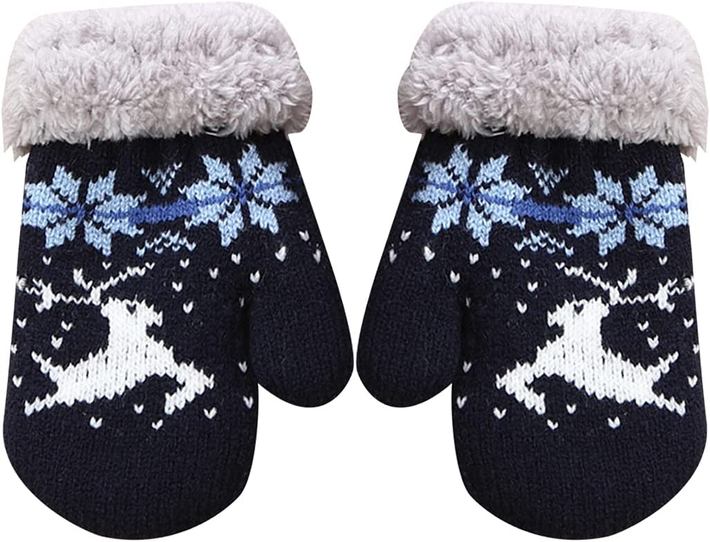 Licogel Kids Knit Mittens Unisex Cute Winter Mittens Faux Fleece Mittens for Christmas Breathable Decorative Warm