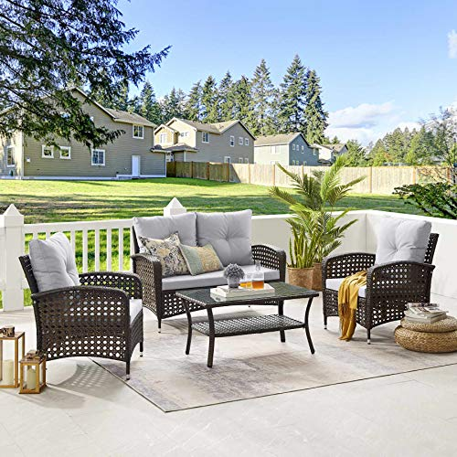 Tribesigns 4 Pieces Outdoor Patio Furniture Sets, PE Rattan Chair Patio Set Wicker Conversation Set with Waterproof Cover Coffee Table for Porch Poolside Balcony Garden (Brown + Light Gray)