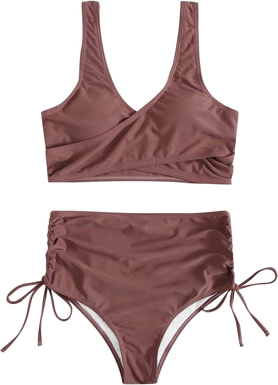Womens Crop Top High Waisted Swimsuits Sport High Cut Drawstring Bathing Suits Cutout Bikini Set Two Piece