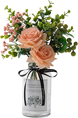 Crelife Artificial Flowers with Vase, Silk Rose Bouquet with Eucalyptus Leaves and Berries, Ins Style Flower Arrangements in