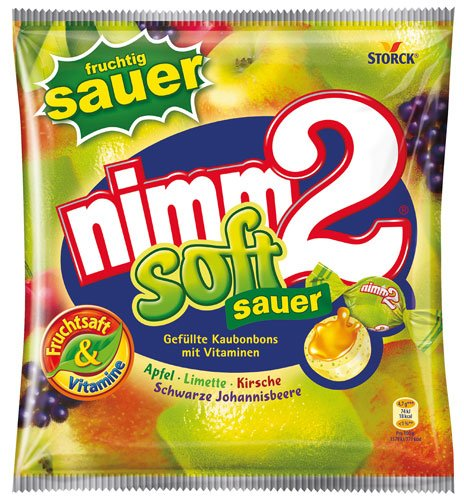 5x nimm2 - Soft sauer, mit Fruchtsaft gefüllte Kaubonbons - 195g