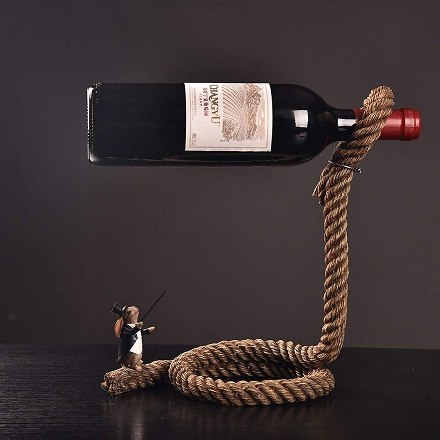Red Wine Shelf Creative Resin Magician Wine Rack Simple Continental Rope Wine Bottle Crafts Home Decoration Wine Cabinet