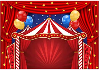 Funnytree 7x5ft Big Top Circus Theme Party Backdrop Carnival Carousel Red Tent Baby Shower Birthday Photography Background Cartoon Curtain Stars Balloon Cake Table Decorations Banner Photo Booth