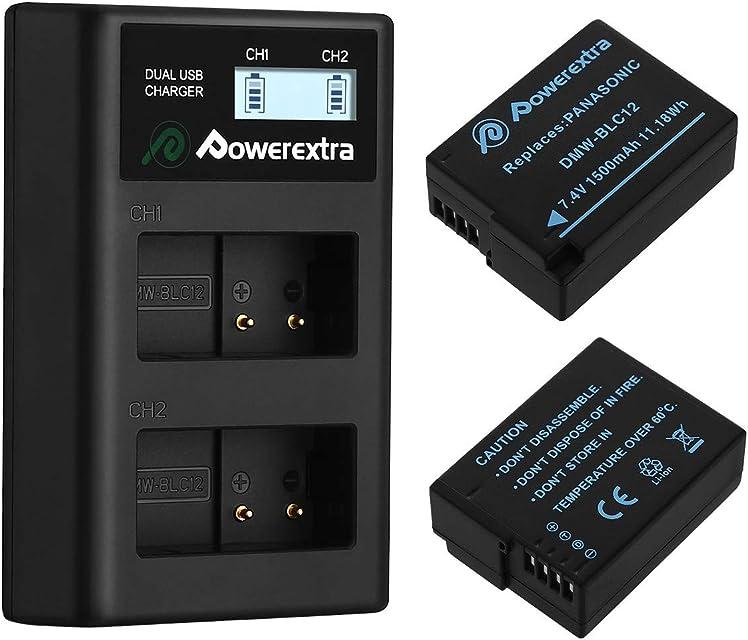 Powerextra DMW-BLC12 Panasonic DMW-BLC12E 2 X Baterías con Cargador Pantalla LCD Compatible con Panasonic Lumix DMC-FZ200 DMC-FZ1000 DMC-FZ2000 / 2500 DMC-G5 DMC-G6 DMC-G7 DMC-GX8 DMC-G85