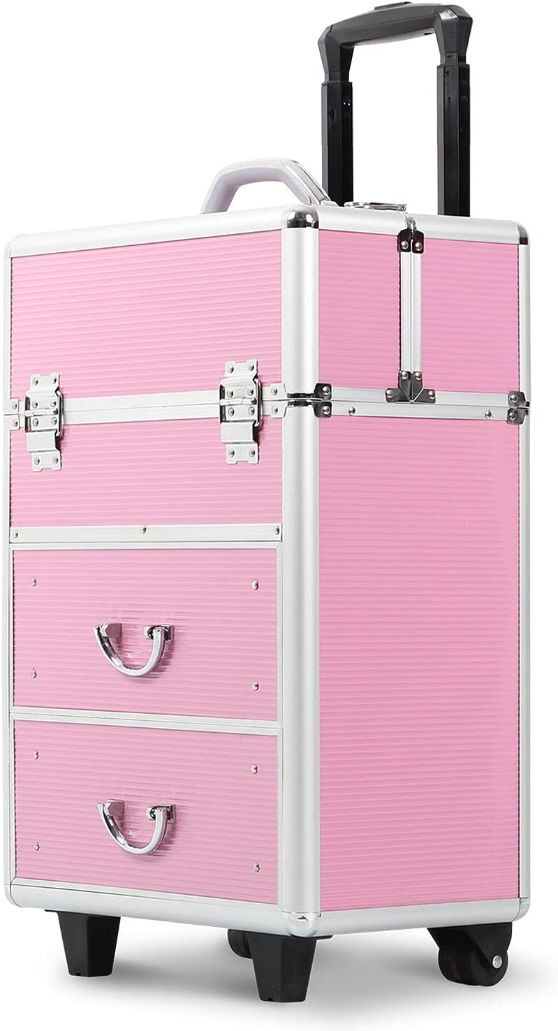 Recommended Professional Rolling Makeup Train Case Drawers Stora with Popular product Large
