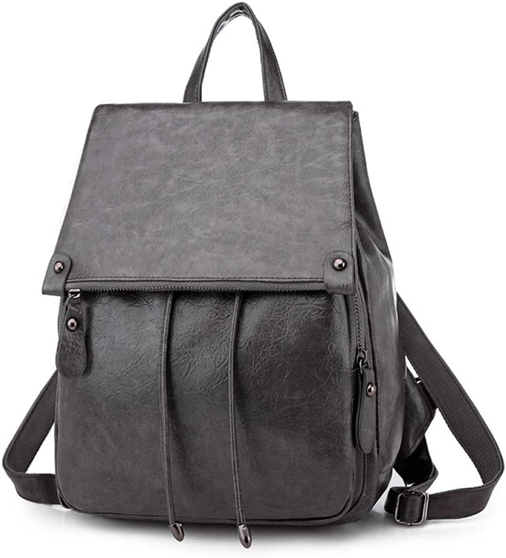 NDYE Women Soft Leather Backpack College Preppy School Bags for Student Drawstring Large Bag Girls Trip Ladies Backpacks