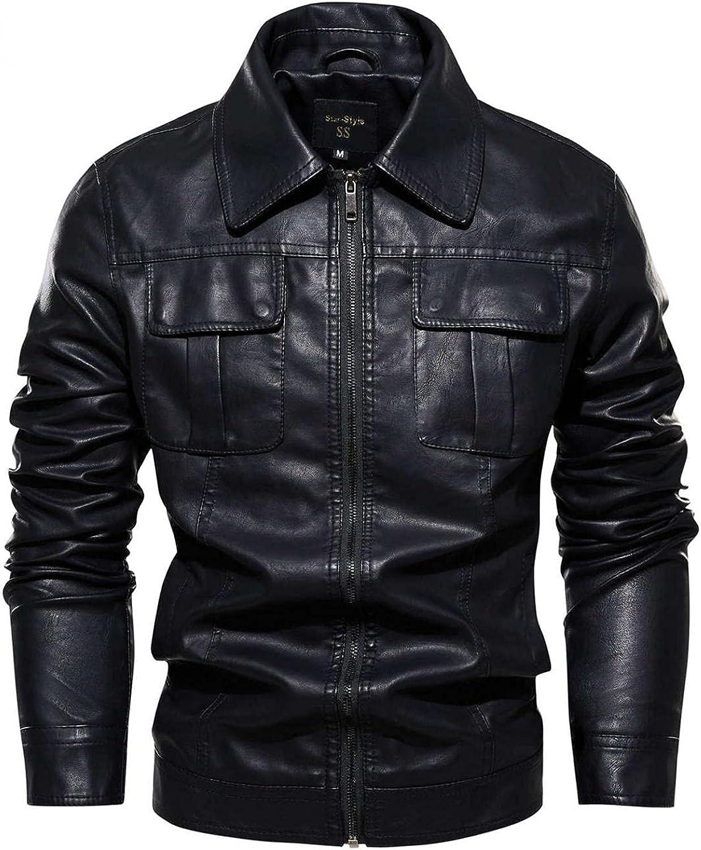 Mens Vintage Leather Jackets Long Sleeve Turn-Down Collar Full Zipper Coat Top Fashion Biker Motorcycle Bomber Overcoat