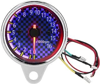 Tachometer Gauge,Motorcycle Tachometer Universal Motorcycle Tach Meter Gauge with LED Digital Backlight, 16000rpm 12V