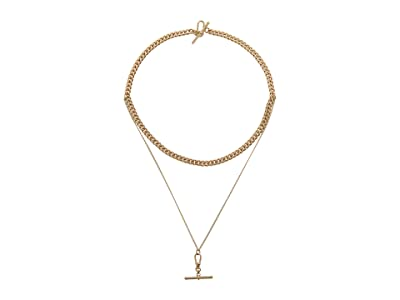 AllSaints Curb Chain 2 Row Necklace (Warm Brass) Necklace
