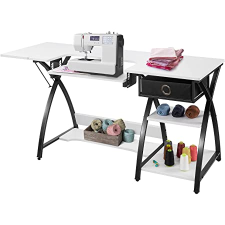 Sewing Craft Table Sewing Machine Desk With Adjustable Folding Shelves And Storage Drawer X Frame Sturdy Multipurpose Sewing Desk White Mdf 57 1 23 6 29 9 Inches Kitchen Dining