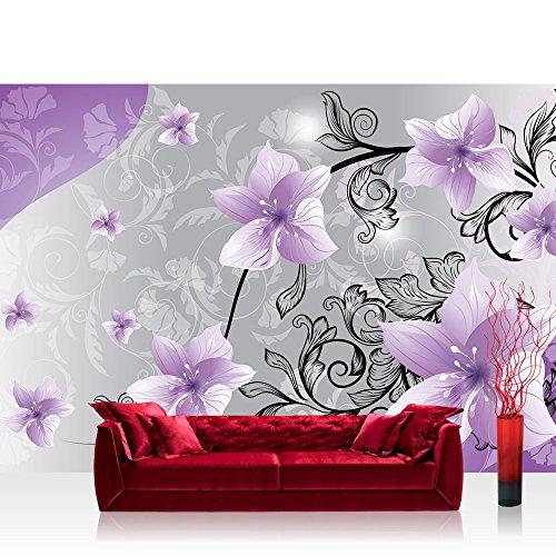 Vlies Fototapete 416x254cm PREMIUM PLUS Wand Foto Tapete Wand Bild Vliestapete - Blumen Tapete Blüten Blätter Orchideen Schnörkel lila - no. 2223