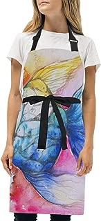 MATEKULI Delantal,Acuarela de Peces de Colores Pintados, Impresión Diseño Gráfico Creativo Delantals,2 Bolsillos