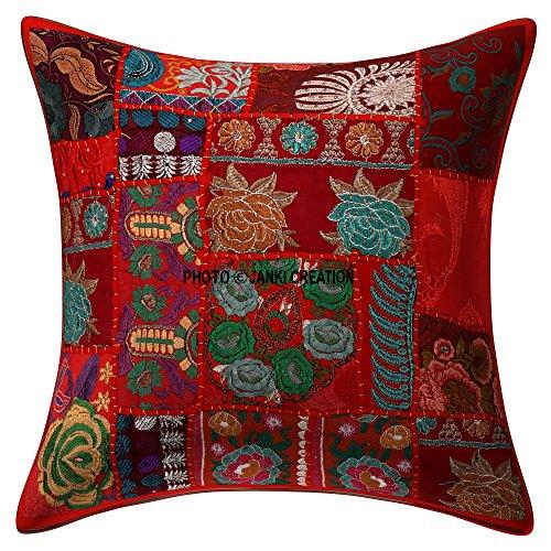 Janki Creation Décoration décoratifs Heavy Faite à la Main brodée 61 x 61 cm Housse de Coussin Set, géométrique carré Scatter Sol Taie d'oreiller, Bohemian Boho Indien