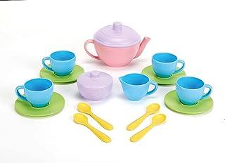 Green Toys TEA01R Tea Set,Pink/Yellow, 15 Pieces